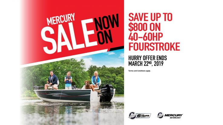 Now is the time to save up to $800 on the Mercury 40-60hp FourStroke range